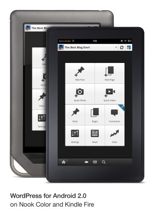 WordPress for Android 2.0 on Nook Color and Kindle Fire